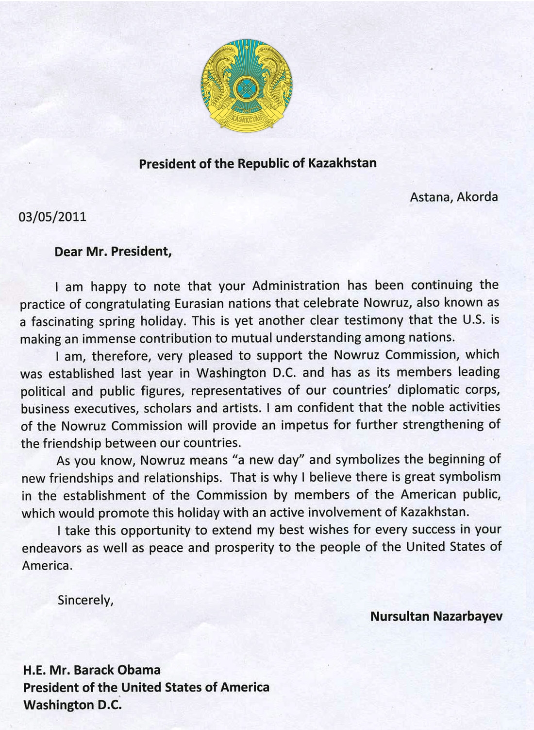 Letter to President Obama from President Nazarbayev (translated in ...